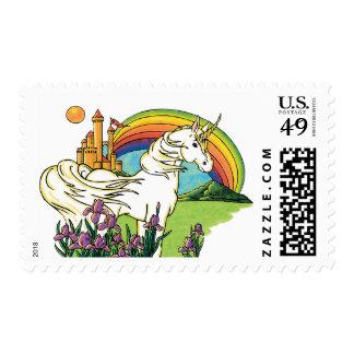 escena del castillo del arco iris del unicornio sello postal