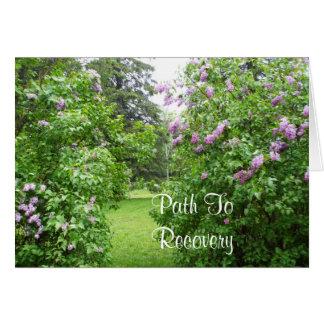 Escena del césped de los arbustos de lila de tarjeta pequeña