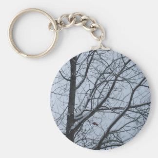 Escena del cielo del árbol del invierno llavero redondo tipo pin