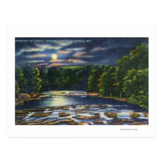 Escena del claro de luna en la cala de Catskill Postal