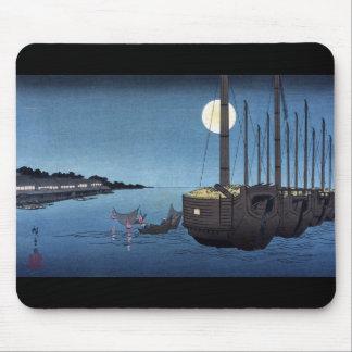 Escena del claro de luna en un río con los barcos, alfombrilla de ratón