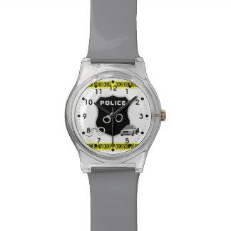 Escena del crimen de la policía relojes de pulsera