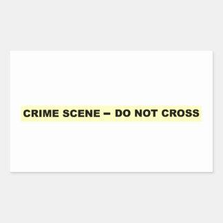 Escena del crimen - no cruce pegatina rectangular