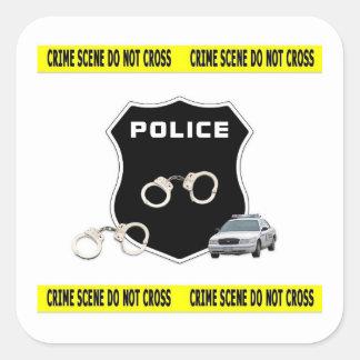 Escena del crimen pegatina cuadrada