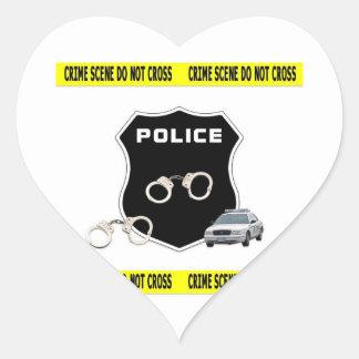 Escena del crimen pegatina en forma de corazón