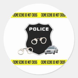 Escena del crimen pegatina redonda