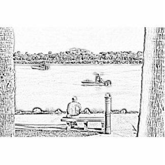 escena del embarcadero en diseño del océano de la