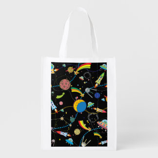Escena del espacio del dibujo animado bolsa reutilizable