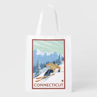 Escena del esquiador de ConnecticutDownhill Bolsas Reutilizables