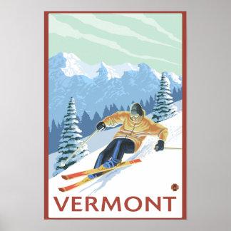 Escena del esquiador de VermontDownhill Póster
