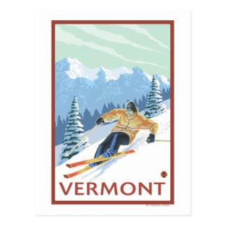 Escena del esquiador de VermontDownhill Tarjeta Postal