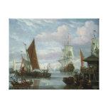 Escena del estuario con los barcos y el pescador lona envuelta para galerias