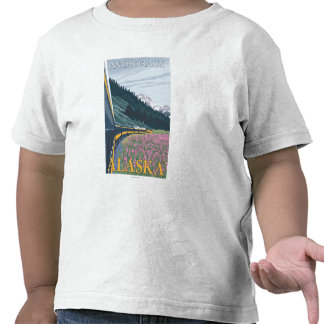 Escena del ferrocarril de Alaska - Anchorage Alas Camisetas