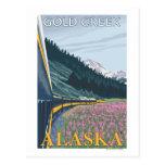 Escena del ferrocarril de Alaska - cala del oro, A Postales