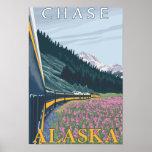 Escena del ferrocarril de Alaska - caza, Alaska Poster