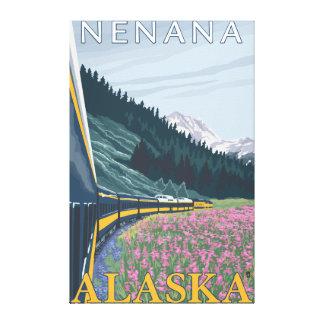 Escena del ferrocarril de Alaska - Nenana, Alaska Impresión En Lona Estirada