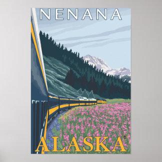 Escena del ferrocarril de Alaska - Nenana, Alaska Posters