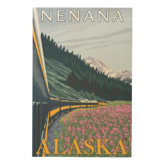 Escena del ferrocarril de Alaska - Nenana, Alaska Impresión En Madera