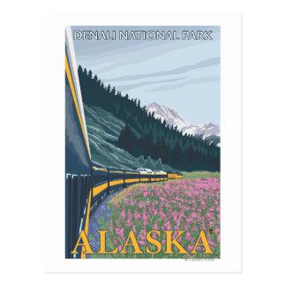 Escena del ferrocarril de Alaska - parque nacional Postal