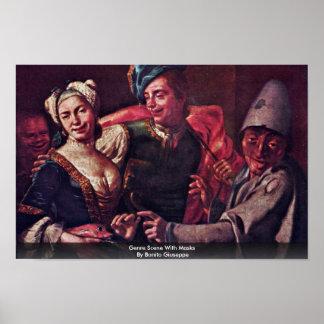 Escena del género con las máscaras por el bonito póster