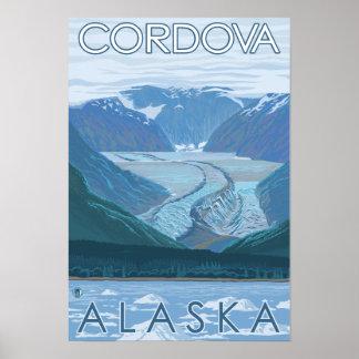 Escena del glaciar - Cordova, Alaska Póster