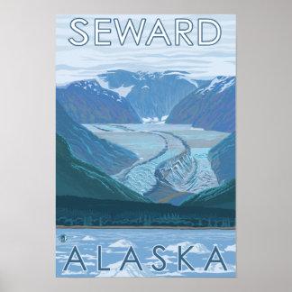 Escena del glaciar - Seward, Alaska Póster