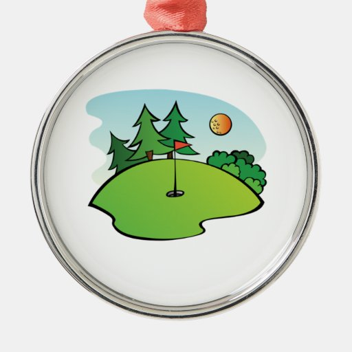 Escena del golf adorno redondo plateado