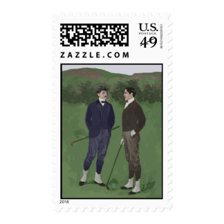 Escena del golf de la apariencia vintage franqueo