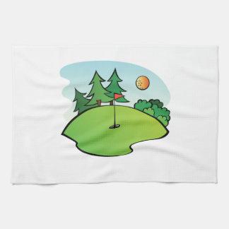 Escena del golf toalla de mano