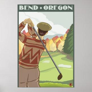Escena del golfista - curva, Oregon Póster