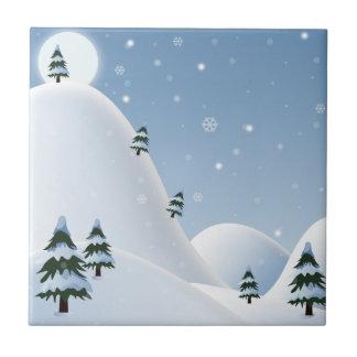 Escena del invierno azulejo cuadrado pequeño