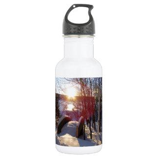 Escena del invierno botella de agua de acero inoxidable