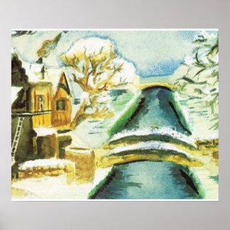 Escena del invierno, canales en la nieve poster