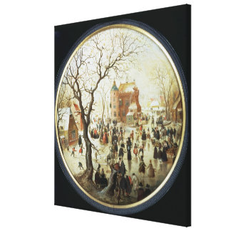 Escena del invierno con los patinadores cerca de u impresión en lienzo estirada