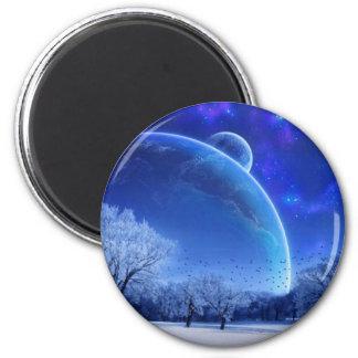 Escena del invierno con los planetas Looing en imá