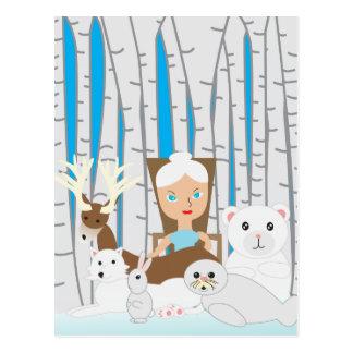 Escena del invierno de la madre naturaleza tarjeta postal