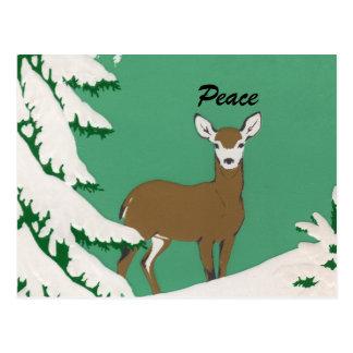 Escena del invierno de la nieve de los ciervos de tarjetas postales
