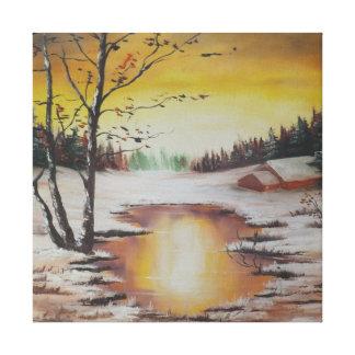 Escena del invierno de la pintura de Ana Hayes de Impresiones En Lona