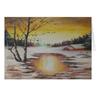 Escena del invierno de la pintura de Ana Hayes de Tarjeta Pequeña