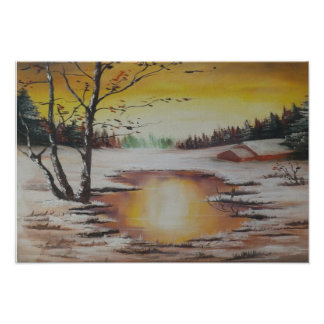 Escena del invierno de la pintura de Ana Hayes del Póster