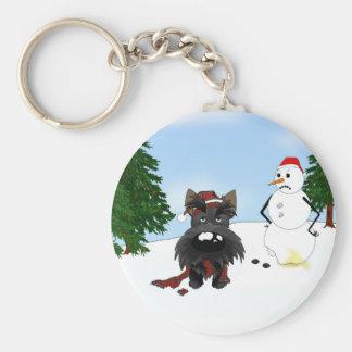 Escena del invierno de Terrier del escocés Llavero Redondo Tipo Pin