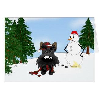 Escena del invierno de Terrier del escocés Tarjeta De Felicitación