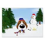 Escena del invierno del beagle felicitaciones