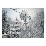 Escena del invierno del Cumpleaños-molino de vient Felicitaciones