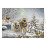 Escena del invierno del husky siberiano tarjeta de felicitación
