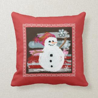Escena del invierno del muñeco de nieve almohadas
