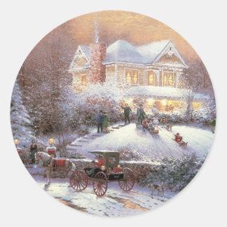 Escena del invierno del navidad del Victorian Etiquetas Redondas