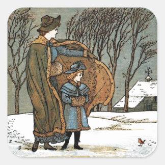Escena del invierno del navidad del vintage, colcomania cuadrada