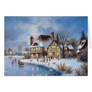 Escena del invierno del navidad tarjetas