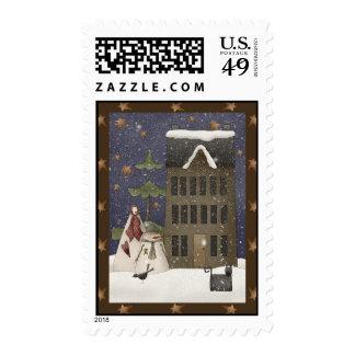Escena del invierno del país sellos